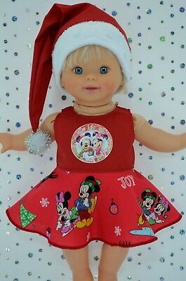 "Play n Wear Doll Clothes 13""Little Mommy/Baby Born CHRISTMAS CIRCLE DRESS~HAT"