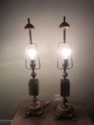 Pair of  Antique Marble Ornate Lamps