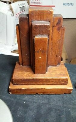 Vintage,old Handmade wood bookend(1) Arts And Crafts style,folk art sculpture