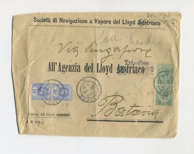 1922 Singapore franked printed cover Lloyd Triestino to Batavia Dutch Indies