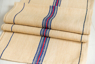 Grain Sack Fabric Antique Blue stripes pillow bench cushion Grain Sack