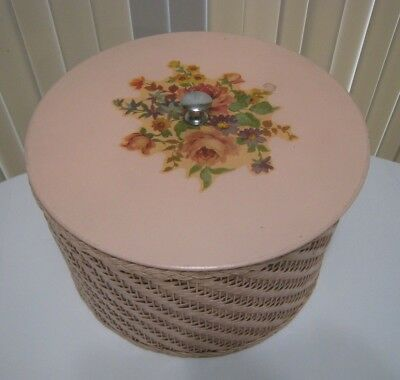 """Vintage Harvey Wicker Sewing Box Basket with Lid 11"""" Round Light Coral Floral"""