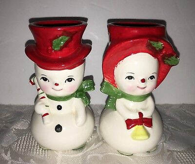 Vtg Christmas Candle Holders Mr and Mrs Anthropomorphic Snowman Couple Japan