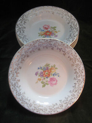 Set of 5 Limoges Meissen Rose Rim Soup Bowls Triumph 22K Gold Vintage