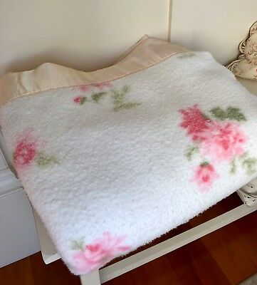 Vintage blanket with shabby pink roses & silky trim ~ cottage chic farmhouse