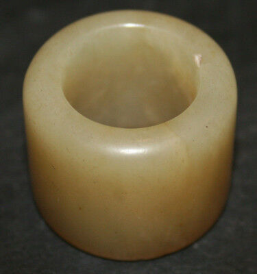 Old Carved Chinese Jade Archers Thumb Ring Translucent Pale Cream