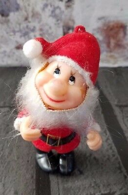 Vintage Flocked Plastic Santa helper Elf Christmas Ornament