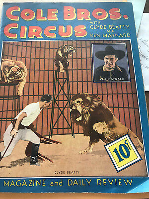 Vintage 1938 Cole Bros. (Brothers) Circus Magazine and Daily Review