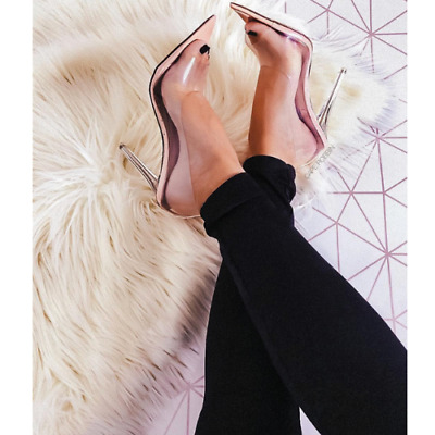 Cape Robbin ETHEREAL Nude Transparent Pointy Open Toe Clear Lucite Heel Pump