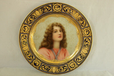 Royal Vienna Porcelain Portrait Cabinet Plate 100% Hand Painted Signed Wagner