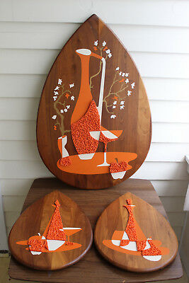 Vintage 1960's Mid Century Modern 3 Piece Still Life Wood Wall Plaques In Orange