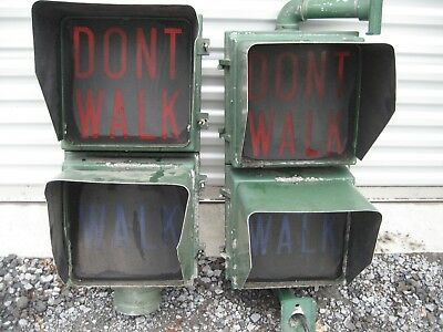 2 Vintage Traffic Signal Walk - Dont Walk Traffic Lights Need Restoration