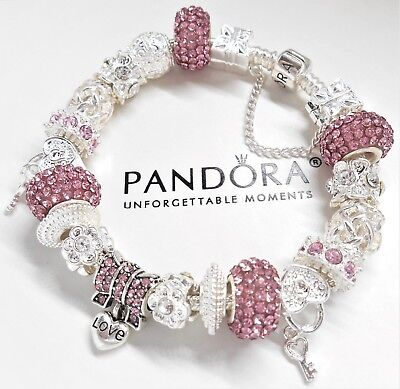 Authentic Pandora Bracelet With Silver & Pink Crystal Heart European Charms..NIB