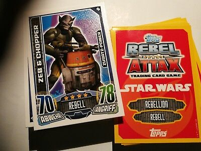 Lotto 100 Card Tutte Diverse Star Wars Rebel Attax Topps