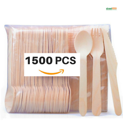 Wooden Cutlery Set Disposable Biodegradable Forks Knives Spoons 25pcs - 1500pcs