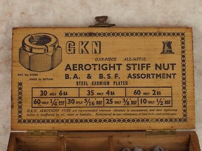 GKN Aerotight Stiff Nuts Appx. 130 In Collectable Wooden Box  B.A. and B.S.F.