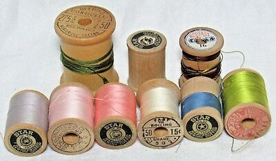 Lot of 9 Sewing Wooden Spools Belding Star Penimaid Silk & CottonThread Vintage