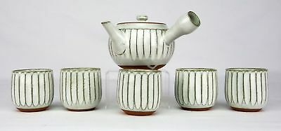 Japanese Mino Yaki Carved Sencha Tea Cup And Pot For Tea Ceremony
