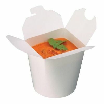 Noodle Boxes - 26oz - White Disposable Paper Round Chinese Takeaway Container