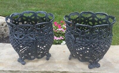 "Pair Ornate Decorative Cast Iron Planter basket openwork footed 12"" floor vase"