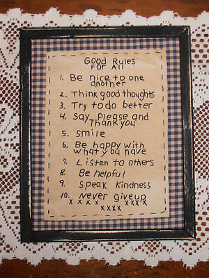 "Primitive Stitchery ""Good Rules For All"" Handmade, Framed, Rustic, Home Decor."