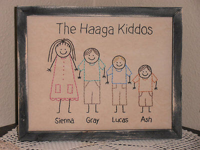 Primitive Stitchery, Stick People Kids, Our Kiddos, Home Decor, Rustic, Sampler