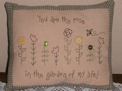 Primitive Stitchery, Garden Of Life Pillow, Sampler, Farmhouse Decor, Home Decor