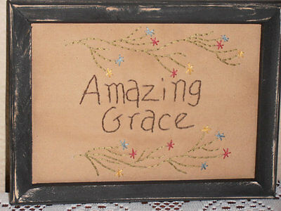 Primitive Stitchery, Amazing Grace, Home Decor, Christian Decor, Rustic, Sampler