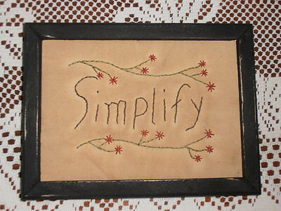 Primitive Stitchery, Simplify, Rustic, Sampler, Home Decor, Cabin Decor,Handmade