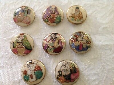 Hand Painted Japanese Satsuma Figural Porcelain Buttons