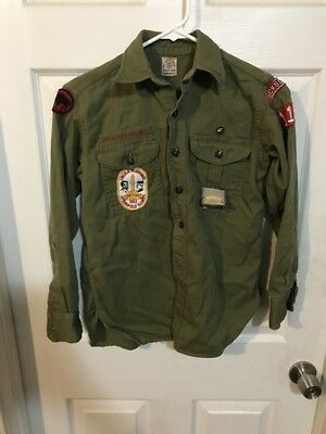 Boy Scout Of America Uniform Vintage 60's Youth Sz 12 Shirt Long Sleeve Green