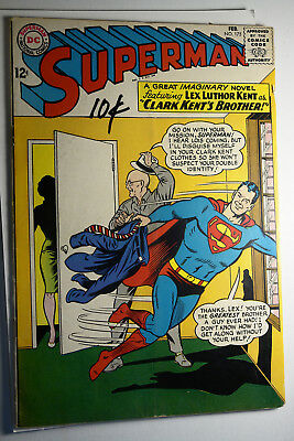 Superman #175 Feb 1965 Silver Age Vg 10 Cents Written On Cover Dc Comic Book