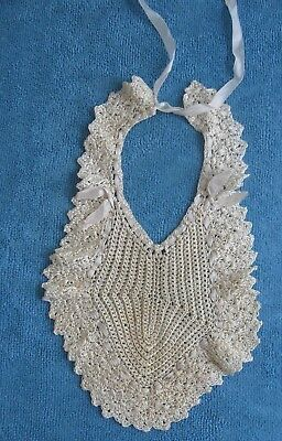 antique handmade crochet silk BABY BIB ribbon trim & ties suitable for DOLL