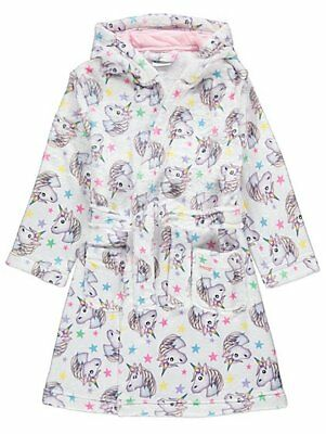 Girls Emoji® White Unicorn Print  Hooded Dressing Gown Robe Age's 4- 14 Years