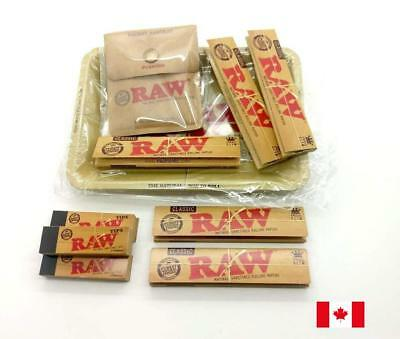 RAW Bundle Set - Metal Tray, Pocket Ashtray, 5 King Papers, 3 Tips
