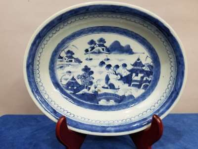 """Chinese Export Blue & White Canton 11"""" Oval Porcelain Serving Bowl 19Th Century"""