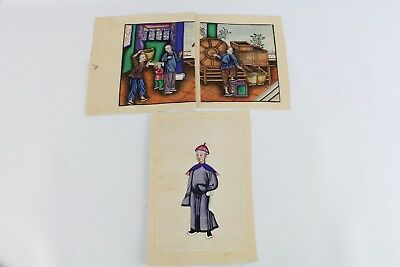 Lot Of Two Old Chinese Painting On Pith Paper
