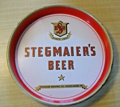"""Vtg 40s/50s STEGMAIER'S BEER 13"""" Serving Tray~Stegmaier Brewery, Wilkes-Barre PA"""