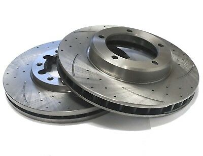 PAIR OF SLOTTED DIMPLED Rear 312mm BRAKE ROTORS D793S x2 TOYOTA PRADO 1996~2009