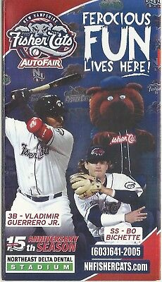 2018 New Hampshire Fisher Cats Pocket Schedule Vladimir Guerrero Jr. Bo Bichette