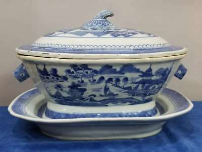 Chinese Export Tureen W/under Plate, Blue & White Canton Porcelain Boars
