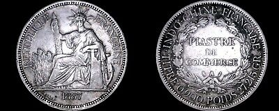 1887-A French Indo-China 1 Piastre World Silver Coin - Vietnam
