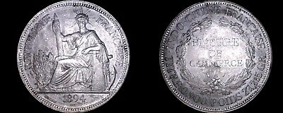 1894-A French Indo-China 1 Piastre World Silver Coin - Vietnam