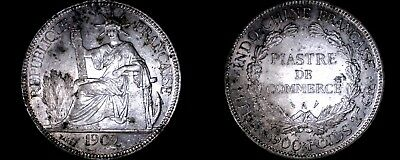 1909-A French Indo-China 1 Piastre World Silver Coin - Vietnam