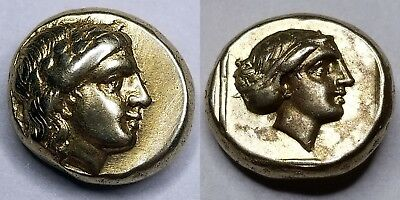 377-328BC Ancient Lesbos Mytilene Gold AG  EL Hekte 1/6 Stater- Asia Minor