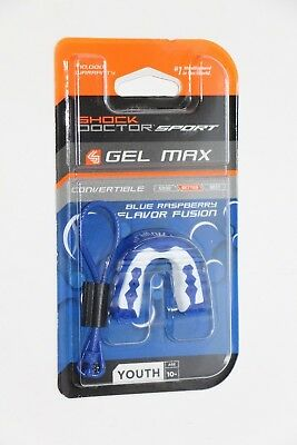 Shock Doctor Sport Gel Max Mouth Guard Convertible Youth 10- Raspberry Flavored