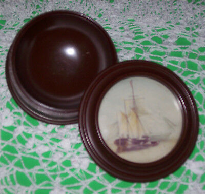 Vintage Vanity Decorative Shaving Soap Dish-Nautical Trinket/Jewelry Box-Sew Box