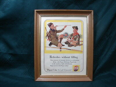 """OPC 1954 Pepsi Cola Boy Scout Advertisment 16""""x13"""" Matted & Framed"""