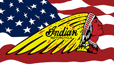 INDIAN MOTORCYCLE LOGO 3' X 5' USA BANNER/FLAG,gilroy,chief/scout $1 Shipping