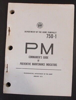 1971 Army PM 750-1 Commander's Guide Preventive Maintenance Indicators